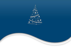 Modern christmas card. Blue - white christmas card with cut out christmas tree Royalty Free Stock Photography
