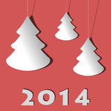 Modern christmas card. With trees - happy new year 2014 Stock Photography