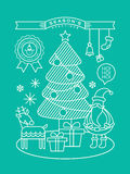 Modern christmas cartoon illustration with line art style Royalty Free Stock Photos