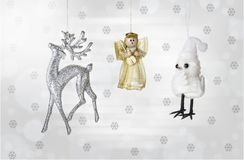Modern christmas decoration on a snowy background.  stock photos