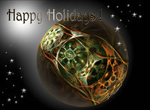 Modern christmas design. Multi-colored textured ball  on a  black fading  background, this is a large file rendered at high quality showing many details when Stock Image