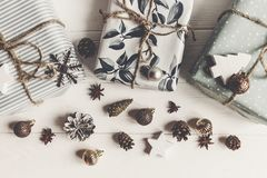 Modern christmas flat lay composition. stylish wrapped presents royalty free stock image