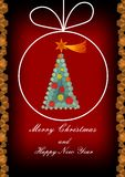 Modern Christmas greeting card with Christmas tree composed of hexagonal elements on dark red background. In Christmas ball line shape Stock Photo