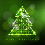 Modern christmas greeting card, invitation with illuminated ornamental christmas tree,  Stock Images