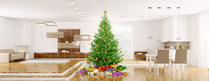 Modern christmas interior 3d rendering Stock Images