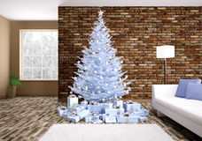 Modern christmas interior 3d rendering Royalty Free Stock Image