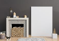 Modern Christmas interior with a decorative fireplace, Scandinav Royalty Free Stock Photos