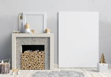 Modern Christmas interior with a decorative fireplace, Scandinav. Ian style. 3D illustration. poster mock up Stock Photography