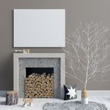 Modern Christmas interior with a decorative fireplace, Scandinav. Ian style. 3D illustration. poster mock up Royalty Free Stock Images