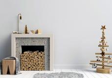 Modern Christmas interior with a decorative fireplace, Scandinav. Ian style. 3D illustration. wall mock up Stock Photos