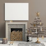 Modern Christmas interior with a decorative fireplace, Scandinav. Ian style. 3D illustration. poster mock up Stock Images