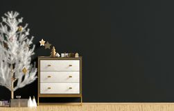Modern Christmas interior with dresser and Christmas tree, Scand. Inavian style. Wall mock up. 3D illustration stock illustration
