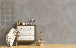 Modern Christmas interior with dresser, Scandinavian style. Wall. Mock up. 3D illustration vector illustration