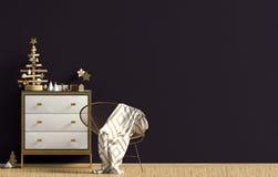Modern Christmas interior with dresser, Scandinavian style. Wall. Mock up. 3D illustration royalty free illustration