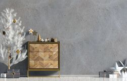 Modern Christmas interior with dresser and Christmas tree, Scand. Inavian style. Wall mock up. 3D illustration vector illustration