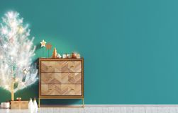 Modern Christmas interior with dresser and Christmas tree, Scand. Inavian style. Wall mock up. 3D illustration royalty free illustration