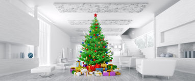 Modern christmas interior panorama 3d rendering Stock Photography