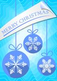 Modern christmas leaflet or greetings card template with three blue balls. stock illustration