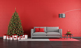 Modern christmas living room Royalty Free Stock Images
