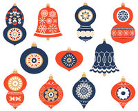 Modern Christmas ornaments set. Christmas retro ornaments for greeting cards and invitation designs in blue and red colors royalty free illustration