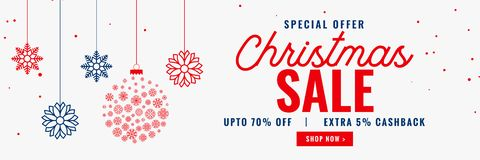Modern christmas season sale banner design. Vector royalty free illustration