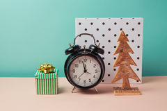 Modern Christmas still life in Memphis style Royalty Free Stock Photo