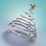 Modern christmas tree. 3d render of a metallic spiral modern tree with golden balls and a star stock illustration