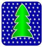 Modern Christmas Tree on blue background Stock Photo