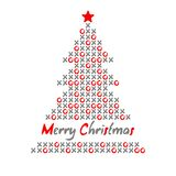 Modern christmas tree card with noughts and crosses,  illustration Royalty Free Stock Photos