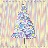 Modern christmas tree. Modern colorful christmas tree illustration greeting card Stock Images