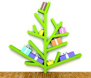 Modern Christmas tree with gifts on branches Royalty Free Stock Photos