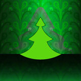 Modern christmas tree on green floral pattern Royalty Free Stock Image