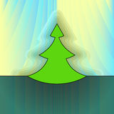 Modern christmas tree on light yellow curtain Royalty Free Stock Images