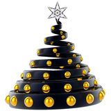 Modern Christmas tree stylized (Hi-Res). Modern black christmas tree with golden shiny baubles and crystal star shape. Stylized and beautiful design. This is a Stock Images