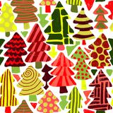 Modern christmas trees seamless pattern. Abstract colorful christmas trees. Bright colors green red vector illustration