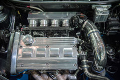 Modern chrome car engine Royalty Free Stock Images