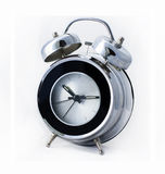 Modern chrome metal retro alarm clock Stock Photo