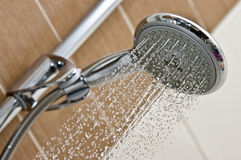 Modern chrome shower head Stock Images