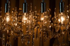 Modern chrystal chandelier Stock Photos