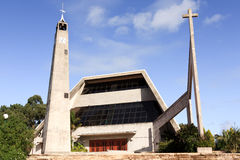 Modern Church. Facade, against blue sky and woods, in Portugal stock photography