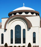 Modern Church. Details of roof and stain glass windows Royalty Free Stock Photos