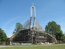 Modern church. Modern architecture style church - building under construction Stock Images