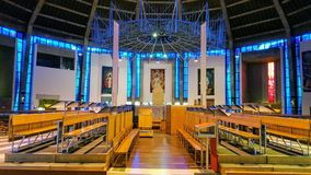 A modern church in liverpool. A modern church with colorful altar and a modern architecture in Liverpool, england Stock Photography
