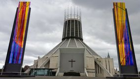 A modern church in liverpool. A modern church with colorful towers and a modern architecture in Liverpool, england Stock Photography