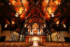 Modern church interior. Interior view of a church with modern architecture royalty free stock photos