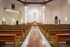 Modern church interior. By night stock photo