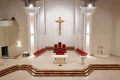 Modern church interior. By night stock image
