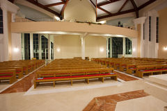 Modern church interior. By night Royalty Free Stock Photo