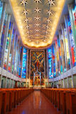 Modern Church Interior. Saint Jospehs Cathedral in Hartford, Connecticut displays large stained glass windows fabricated in France stock images