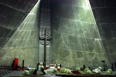 Modern church. Interior of a modern church (St. Mary's Cathedral Tokyo) made of grey concrete royalty free stock photography